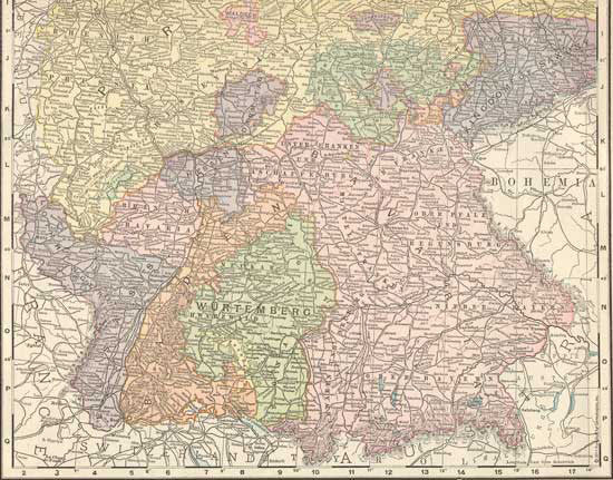 1896 Map Of Western Germany Fun Stuff For Genealogists Inc
