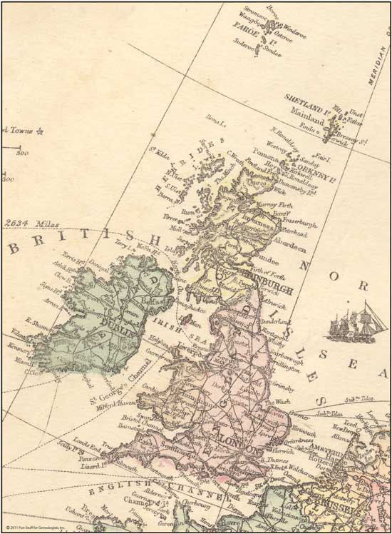 1873 Map of Great Britain