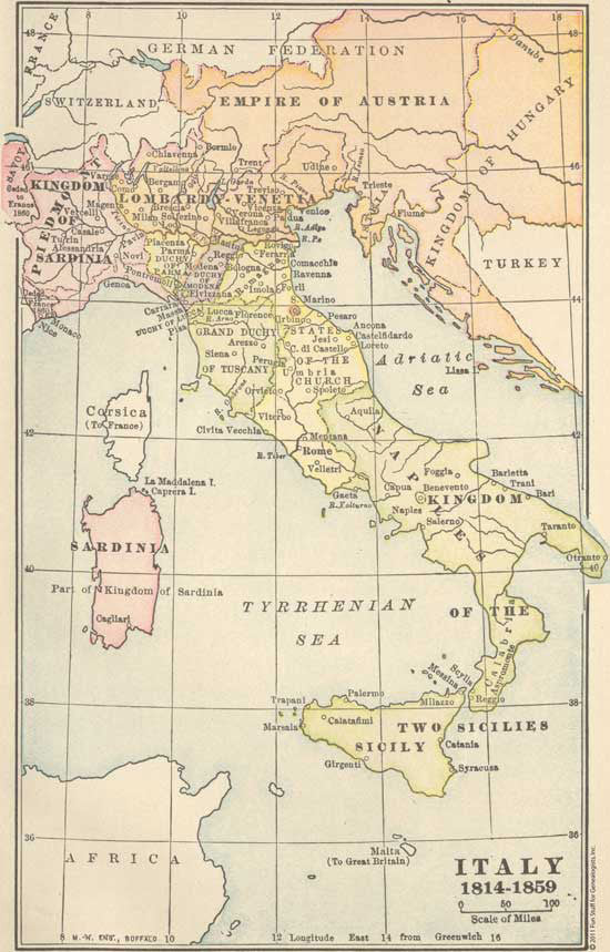 1814-1859 Map of Italy