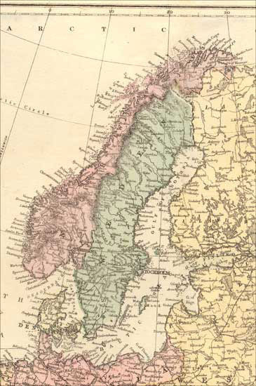 1873 Map of Sweden and Norway