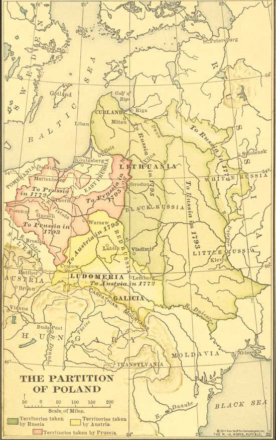 "1923 Map of Poland - ""The partition of Poland"""