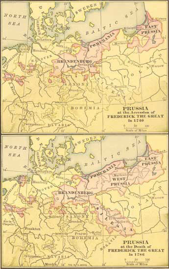 1740 - 1786 Map of Prussia