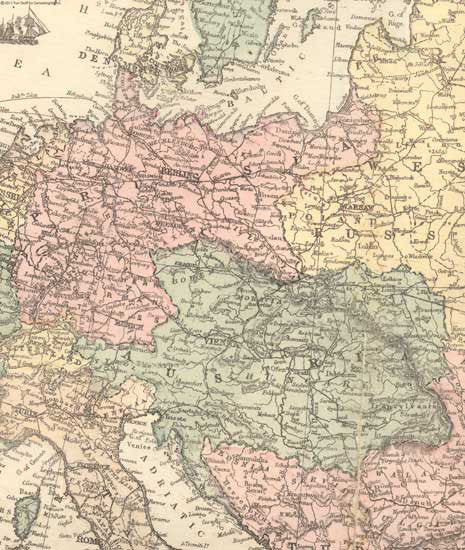 1873 Map of Prussia & Austria