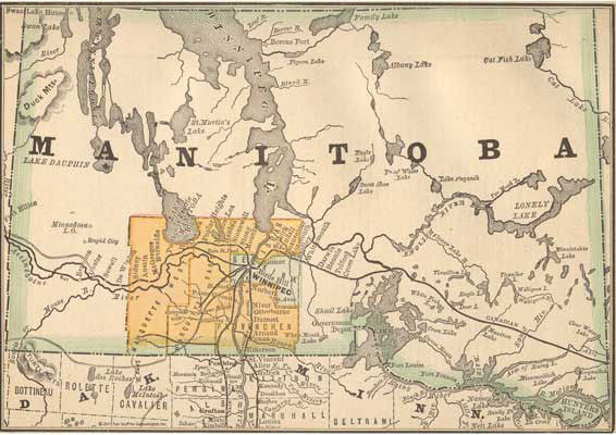 1884 Map of Manitoba, Canada