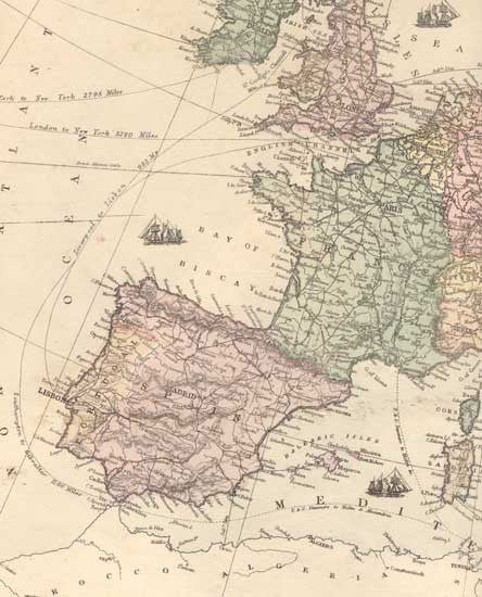 1873 Map of Spain, Portugal & France