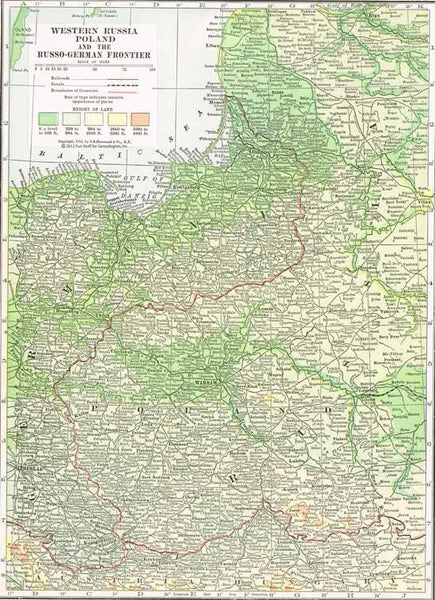 1916 Map of Western Russia & Poland