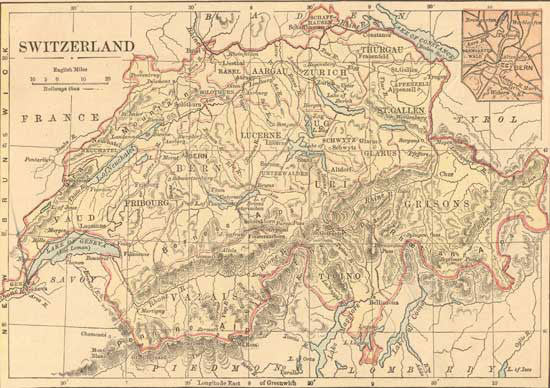 Map of Switzerland - 1882