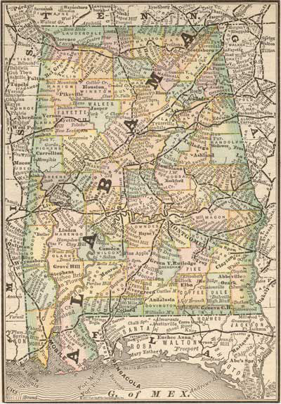 1884 Map of Alabama