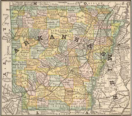 1884 Map of Arkansas