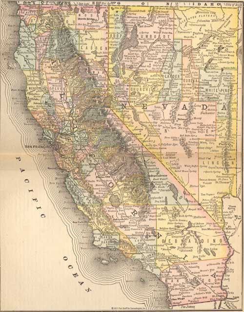 1884 Map of California & Nevada