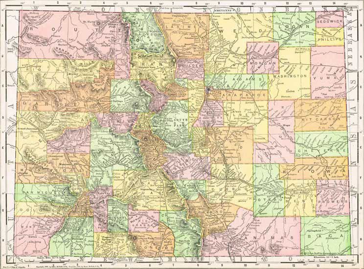 1884 Map of Colorado