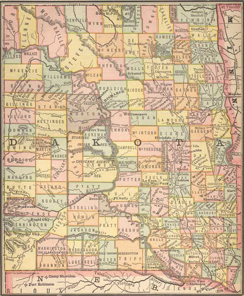 "1884 Map of ""Dakota"""