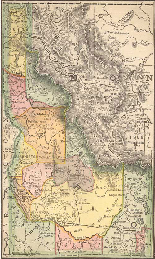 1884 Map of Idaho
