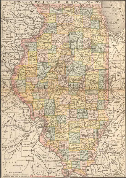 1884 Map of Illinois