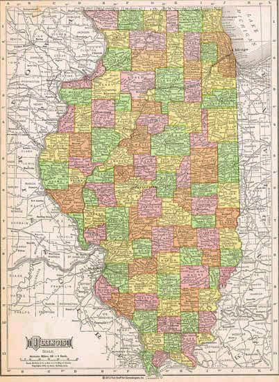 1909 Map of Illinois
