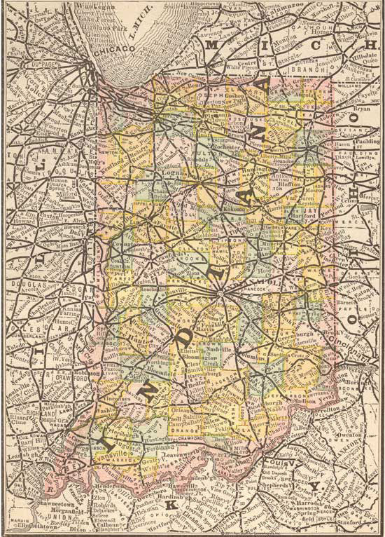 1884 Map of Indiana