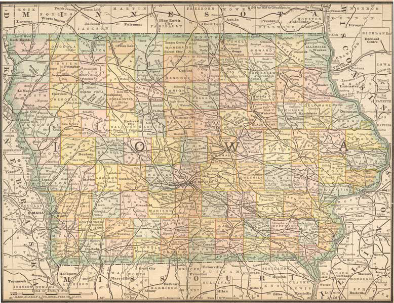 1884 Map of Iowa