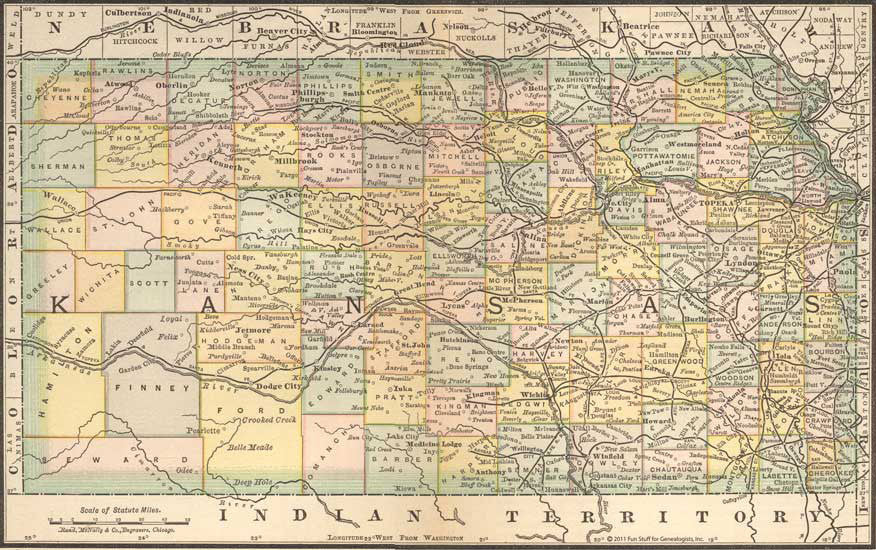 1884 Map of Kansas