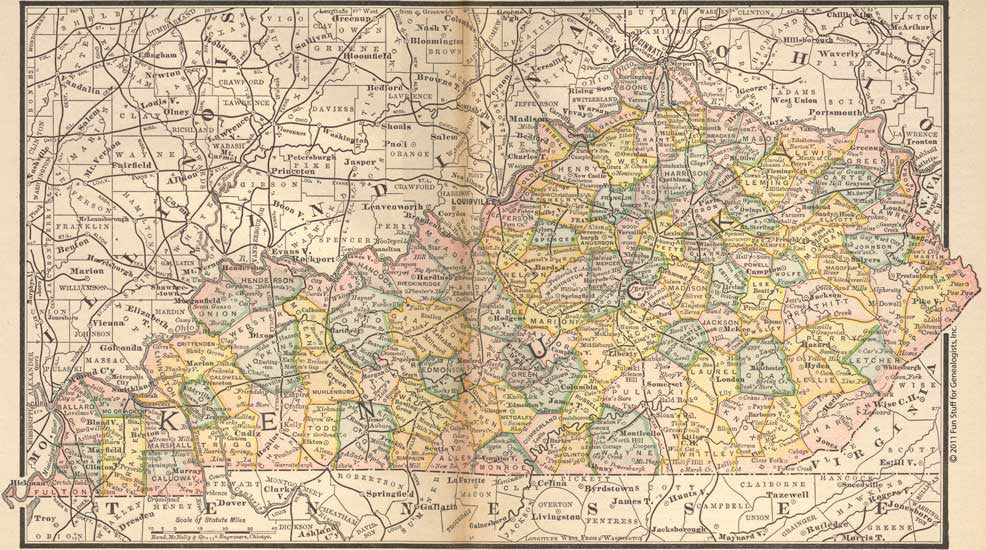 1884 Map of Kentucky