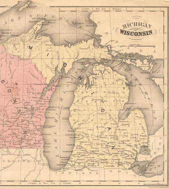 1855 Map of Michigan & part of Wisconsin