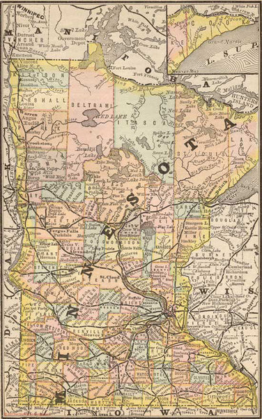 1884 Map of Minnesota