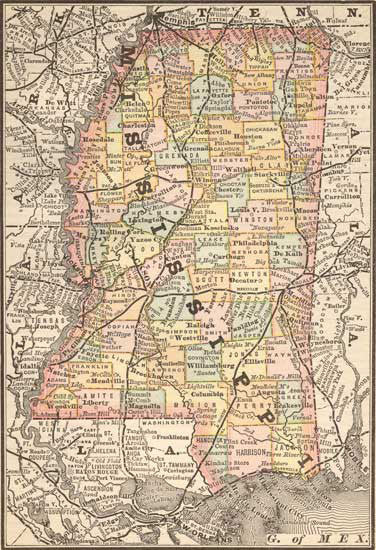 1885 Map of Mississippi