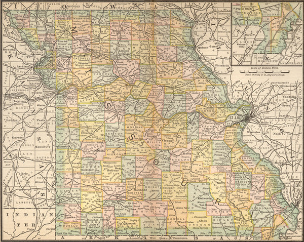 1884 Map of Missouri