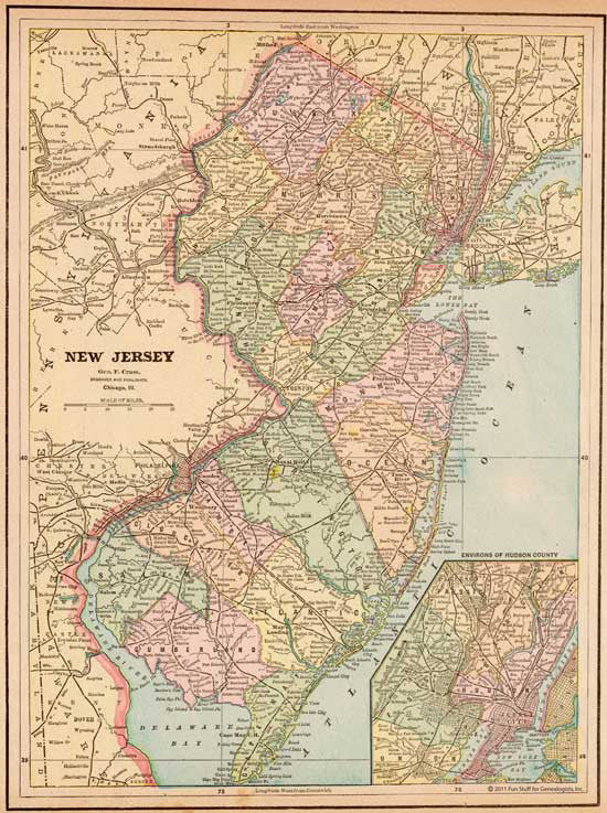 1888 Map of New Jersey