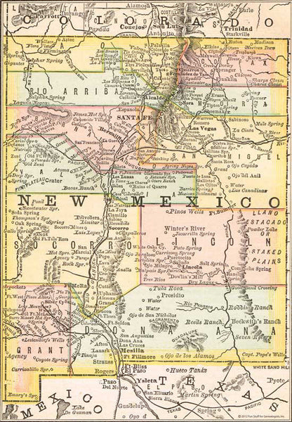 1884 Map of New Mexico