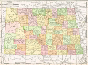 1909 Map of North Dakota