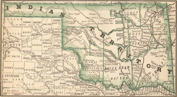 1884 Map of Oklahoma - Indian Territory
