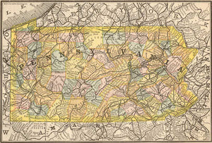 1884 Map of Pennsylvania