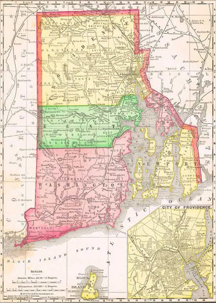 NEW! 1895 Map of Rhode Island