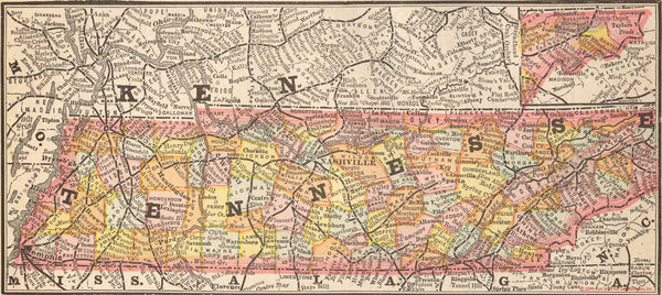 1884 Map of Tennessee