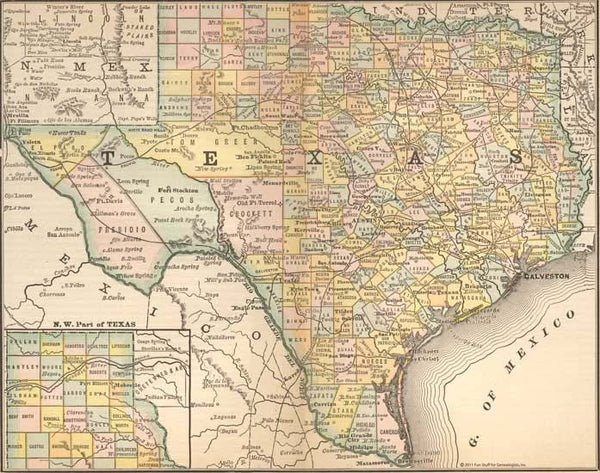 1884 Map of Texas