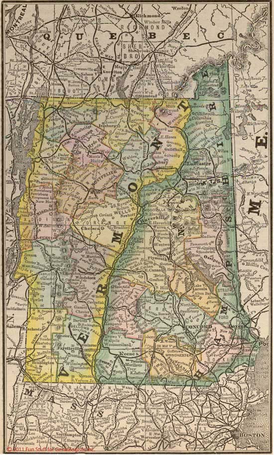 1884 Map of Vermont & New Hampshire
