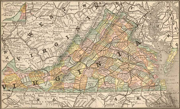 1884 Map of Virginia