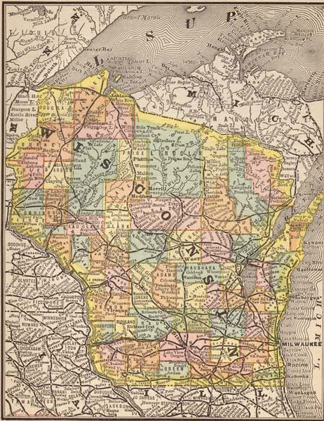 1884 Map of Wisconsin