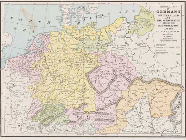 1517 - 1648 Map of Germany, Switzerland & the Netherlands
