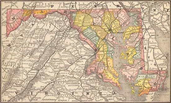 1884 Map of Maryland