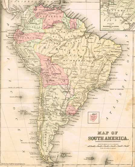 1886 Map of South America