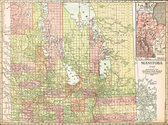 1915 Map of Manitoba, Canada