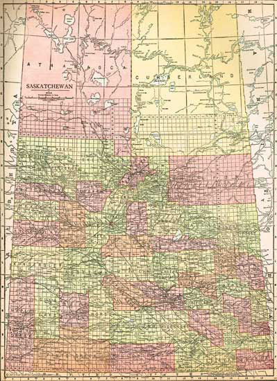 1915 Map of Saskatchewan, Canada