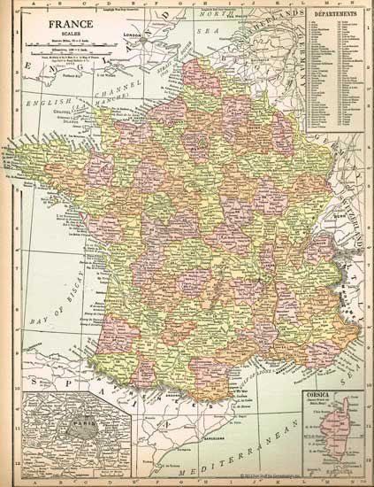 1915 Map of France