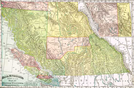 1895 Map of British Columbia, Canada