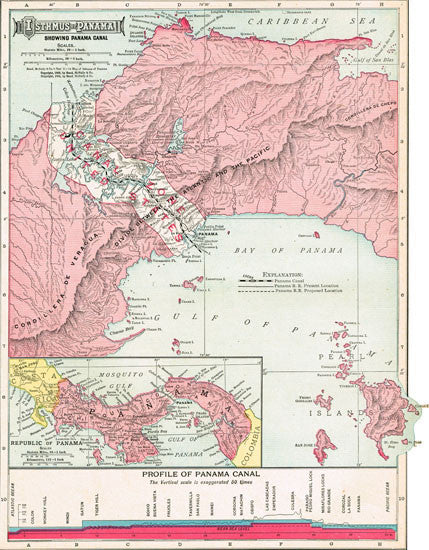1911 Map of the Panama Canal
