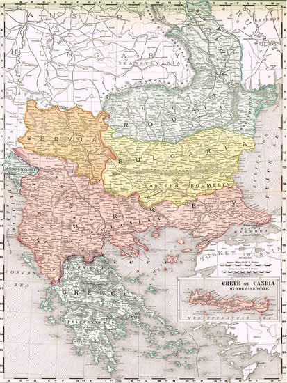 1895 Map of Bulgaria, Romania, Turkey, Greece and more