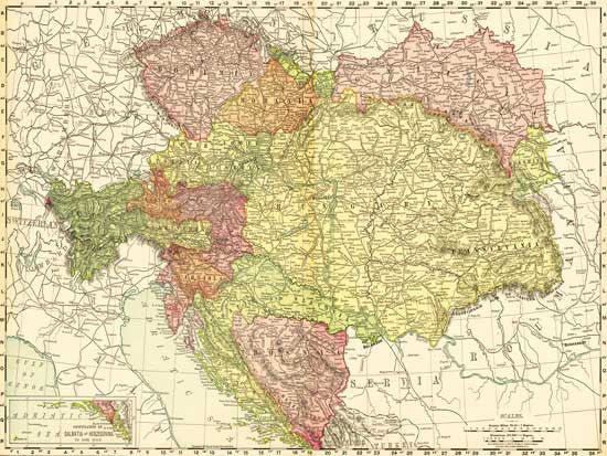 1895 Map of Bohemia, Moravia, Austria, Hungary & More