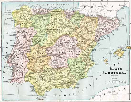 1888 Map of Spain and Portugal