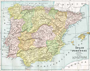 Full Map Of Spain.1888 Map Of Spain And Portugal